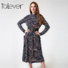 Vintage  Printed Dresses Casual Loose Dress with belt