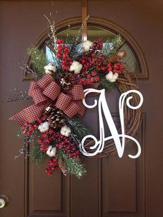 128ef00ed1d78 Cotton Christmas Wreath with Monogram - Farmhouse Holiday Wreath with  Initial - Rustic Cotton Grapevine Winter Wreath - Holiday Decor