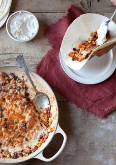 Tacos végétariens à la patate douce & crème sure à l'oignon - Recette | Trois fois par jour