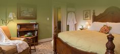 $180 - four poster bed with cream linens, a comfortable lounge chair and a white robe hanging from the back of the door.