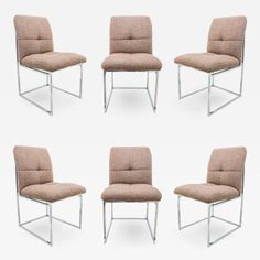 Set of 6 Milo Baughman for Thayer Coggin Dining Chairs by Milo  Baughman