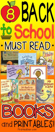 8 Back to School Books with printables. Great for the first week of school morning work and getting to know you activities. Popular titles include No David and Chrysanthemum.