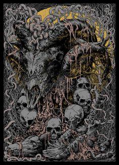 "Shub-Niggurath, the epithet of ""The Black Goat of the Woods with a Thousand Young"" - Albert Che Fantasy Kunst, Dark Fantasy Art, Arte Horror, Horror Art, Necronomicon Lovecraft, Lovecraftian Horror, Heavy Metal Art, Satanic Art, Alien Vs Predator"