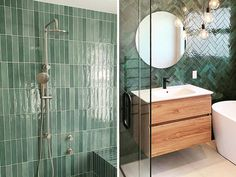 Four Bathroom Tile Trends to take us into 2021 - Tile Space Modern Bathroom Tile, Bathroom Trends, Bathroom Wall, Green Bathroom Tiles, Design Bathroom, Bathroom Ideas, Large Format Tile, Feature Tiles, Bathroom Styling