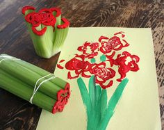 Click Pic for 30 Valentines Day Kids Crafts - Celery Print Roses - DIY Valentines Crafts