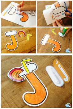 J is Juice Craft and Fun Letter Learning Activities with Badanamu - I am excited to have Nicole gues Preschool Letter Crafts, Alphabet Letter Crafts, Abc Crafts, Alphabet Book, Letter Tracing, Letter Recognition, Letter Art, Kids Crafts, Letter J Activities