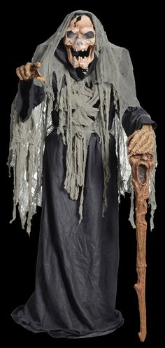 """feet tall, Pestilence the Smoldering Reaper features a tattered full black robe with gray torn fabric accents, a belt with 3 hanging plastic bones, hand-painted roto-PVC head, hand-painted roto-PVC hands & ribcage, and holds a 54""""-long plastic cane."""