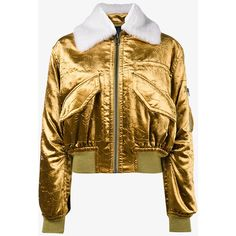 Haider Ackermann metallic cropped bomber jacket ($2,710) ❤ liked on Polyvore featuring outerwear, jackets, metallic jacket, cropped leather jacket, brown jacket, genuine leather bomber jacket and leather flight jacket