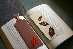 DIY bookmarks, one with embroidery and the other with simple cut-outs.