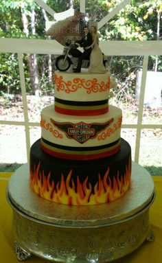 buttercream icing with fondant accents Harley Davidson wedding cake www.kittiskakes.com