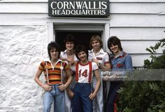 Pop group The Bay City Rollers (L-R Stuart 'Woody' Wood, Les McKeown, Ian Mitchell, Derek Longmuir, Eric Faulkner) pose for a portrait in June 1976 in Connecticut. June 1, 1976
