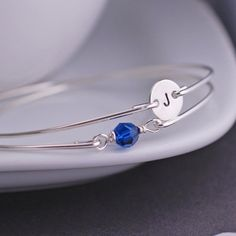 Septembre Birthstone Set de Bracelet, Bracelet saphir, personnalisé Birthstone Jewelry, pierres de cristal Swarovski