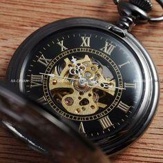Mechanical Black Skeleton Steel Chain Wind-Up Mens Pocket Watch Aussie Stoc