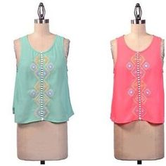 I just discovered this while shopping on Poshmark: Sheer Aztec Embroidered Pink / Aqua Sleeveless Top. Check it out!  Size: S, M or L