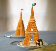 Eiffel Tower cookie style - great mate to some scoops of ice cream for a fun French-themed party marycoylephx