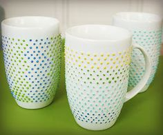The Glamorous Housewife: Painting A Porcelain Mug *Dishwasher Safe* (She tried the Sharpie method and . well, you know the rest of the story. Cute Crafts, Diy Crafts, China Art, Porcelain Mugs, Pottery Painting, Homemade Gifts, Coffee Cups, Sewing Crafts, Diy Projects