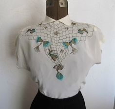 Vintage 1940s Novelty Hand Painted Sea Fishing Rayon Blouse Top 34B Bombshell | eBay
