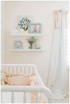 Emmy's Nursery – Elizabeth Johnson Photography Blue Nursery Girl, Blush Nursery, Baby Nursery Decor, Baby Bedroom, Nursery Neutral, Nursery Room, Nursery Ideas, Vintage Nursery Girl, Nursery Curtains Girl
