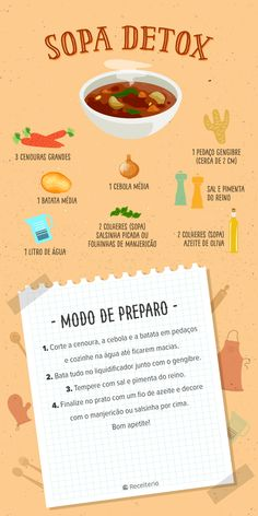 Receita de sopa detox saborosa - Real Time - Diet, Exercise, Fitness, Finance You for Healthy articles ideas Week Detox Diet, Detox Diet Drinks, Detox Diet Plan, Smoothie Detox, Detox Foods, Sopa Detox, Dietas Detox, Lemon Detox, Detox Soup