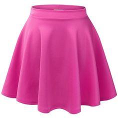MBJ Womens Basic Versatile Stretchy Flared Skater Skirt ($5.99) ❤ liked on Polyvore featuring skirts, bottoms, saias, pink, flared hem skirt, pink circle skirt, circle skirt, flared skirt and pink skater skirt