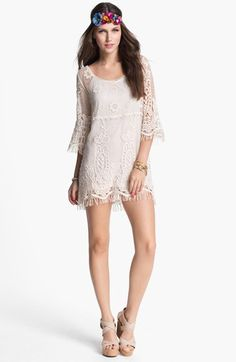 Free shipping and returns on Mimi Chica Crochet Tunic (Juniors) at Nordstrom.com. A totally see-through crochet overlay makes for a summertime tunic with a loose, airy fit and wispy fringe at the cuffs and hem. A semi-sheer slip underlayer creates a cool layered look.