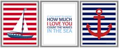 Boys Nursery Nautical Print Set, Nursery Wall Art Poster Set - 11x14 via Etsy