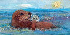 Sea Otter I Art Print, Childrens Art, Sea Animal, Home Decor, Ocean Wall Art