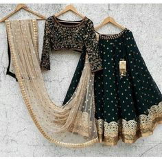F you're wondering about the latest lehenga blouse designs, you've reached the right spot. A designer lehenga blouse can make your look fresh from fashion Black Lehenga, Indian Lehenga, Indian Gowns, Indian Attire, Pakistani Dresses, Indian Wear, Indian Outfits, Green Lehenga, Indian Suits Punjabi