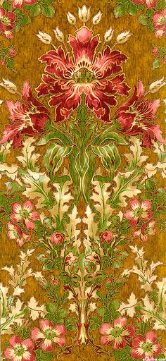 Claridge Manor - Majestically drawn on a large scale, these stunning tulips and roses echo the style of William Morris for a richly colored Art Nouveau print. Wallpaper Flower, Fabric Wallpaper, Wall Wallpaper, Wallpaper Backgrounds, Motifs Textiles, Textile Patterns, Textile Prints, Flower Pattern Design, Pattern Art