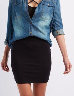 High-Waisted Bodycon Mini Skirt #CharlotteLook