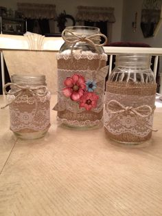Decorative Mason Jars I made for a friend of mine to use for her Bridal Shower she was hosting.