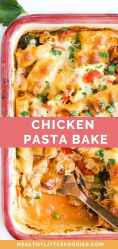 Pasta, chicken and veggies (onion, spinach, bell pepper, peas)baked in a creamy tomato sauce and topped with cheese. A delicious and easy family meal that is guaranteed to be requested time and time again. Healthy Pasta Bake, Healthy Baking, Healthy Food, Healthy Meals For Kids, Healthy Recipes, Savoury Recipes, Vegetarian Recipes, Chicken Pasta Bake, Creamy Tomato Sauce