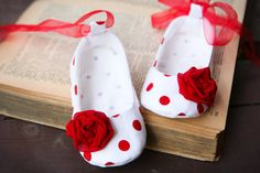 Red  and white baby girl shoes, dotted ballerina slippers with chiffon flower, infant crib booties, baby summer shoes