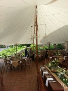 Stillwater tent with traditional wood poles www.tentrent.com