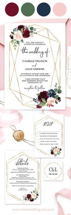 Marsala, burgundy and pink wedding Invitation. Modern Geometric Wedding Invitation #weddinginvitations #weddingstationery #weddingcolors #vinewedding