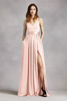 V Neck Halter Gown with Sash Style VW360214