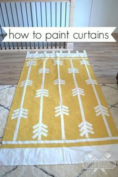 To Paint Curtains How to paint curtains. Customize cheap IKEA curtains any way you want!How to paint curtains. Customize cheap IKEA curtains any way you want! Painted Curtains, Ikea Curtains, Yellow Curtains, Drop Cloth Curtains, Rustic Curtains, Hanging Curtains, Luxury Curtains, Farmhouse Curtains, Nursery Curtains