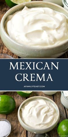 This Mexican Crema is a silky, creamy sauce that's a little tangy and a little salty. It's addictively good!This Mexican Crema is a silky, creamy sauce that's a little tangy and a little salty. It's addictively good! Sauce Recipes, Raw Food Recipes, Mexican Food Recipes, Cooking Recipes, Mexican Desserts, Freezer Recipes, Freezer Cooking, Drink Recipes, Cooking Tips