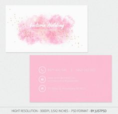 Free Customize Pink Business Card Calling Card for Make by JustPSD