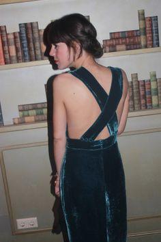 crushed velvet x back dress