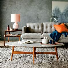 Reeve Mid-Century Oval Coffee Table - Marble Top #westelm More