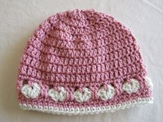 Crochet Hat with Hearts in Pink and Eggshell (20.00 USD) by WarmingHeartsB1G1
