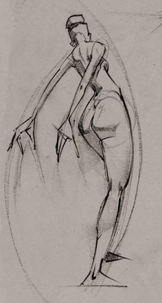 xaggerated Conte Figure Drawing by Ryan Woodward for his Conte Animated Exhibition.