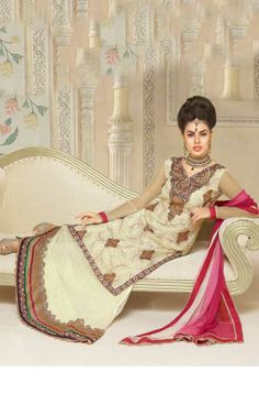 CREAM FAUX GEORGETTE SALWAR KAMEEZ - VP 2809