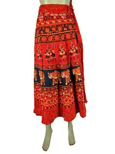 COTTON WRAP SKIRT HIPPY GYPSY LONG SKIRT WRAP AROUND SARONG RED ANIMAL PRINT 36""