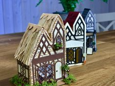 Box Houses, Putz Houses, Christmas Themes, Christmas Cards, Dragon House, George & Dragon, Tonic Cards, Tudor House, Little Houses