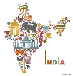 Illustration about Traditional symbols in the form of a map of India. Illustration of drum, palm, flowers - 43099304 India Country, Amazing India, Incredible India Posters, Amazing Photos, India Culture, Color Meanings, Thinking Day, Happy Independence Day, The Incredibles