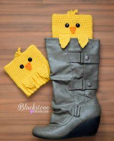 Ravelry: Peeping Chick Boot Cuffs pattern by Sonya Blackstone Crochet Baby Boots, Crochet Slippers, Crochet Clothes, Crochet Designs, Knitting Designs, Crochet Patterns, Hat Patterns, Easter Crochet, Knit Crochet