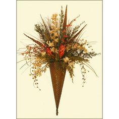 """Feather, Grass and Orchid Silk Flower Wall Sconce-Metal Wall Accent"" Peony Arrangement, Sunflower Arrangements, Silk Floral Arrangements, Candle Wall Sconces, Wall Sconce Lighting, Faux Flowers, Silk Flowers, Up House, Baskets On Wall"