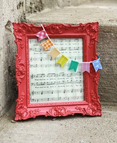 Picture frame idea in red. Putting a wedding song in the frame :)